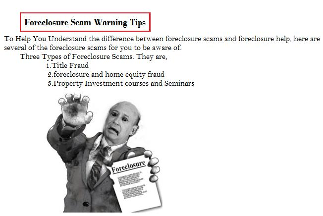 zack childress scam tips-foreclosure scam warning tips
